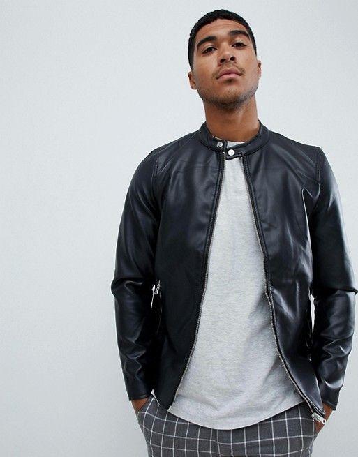 yet not vulgar finest selection san francisco Pull&Bear biker jacket in black | DPAC | Smart casual men ...