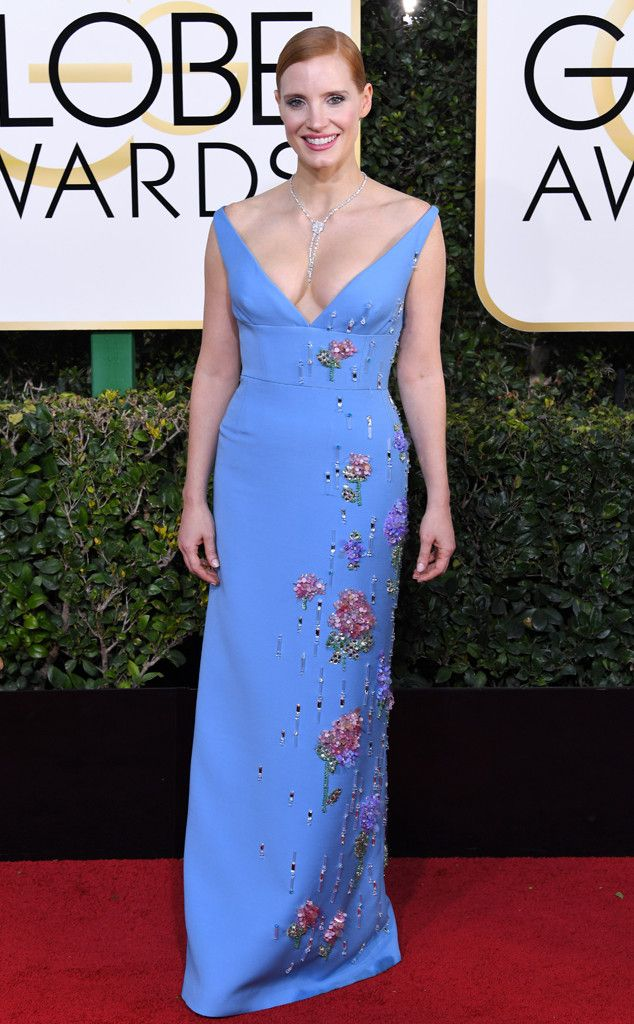 Jessica Chastain in Prada at the 74th Annual Golden Globe Awards at The Beverly Hilton Hotel on January 8, 2017 in Beverly Hills, California.