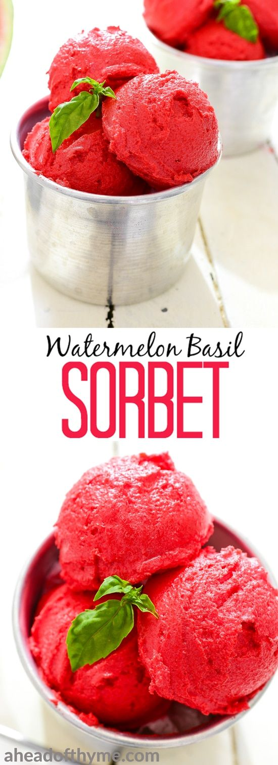 Grab a spoon and beat the heat with watermelon basil sorbet. It is healthy, refreshing, and easy to prepare! | aheadofthyme.com via @aheadofthyme