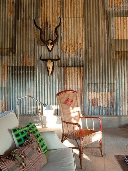 Weathered Rustic-Industrial Metal Walls | via Elle Decor Spain | House  Home