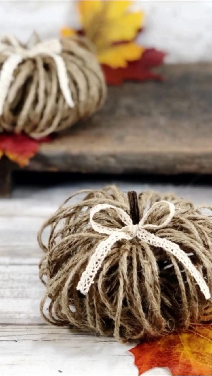 How to Make Twine Pumpkins [Video] in 2020 Fall crafts