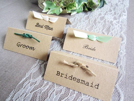 10 X Kraft Card Wedding Place Name Cards Personalised Rustic Vintage Twine Ribbon Village Fete Shabby Chic
