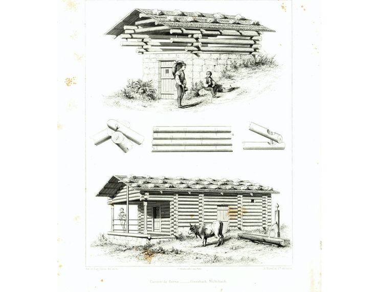 1861 Plans de Chalet Suisse Canton de Berne. Cabane en Rondins. Fuste. Architecture Gravure Lithographie Illustration de la boutique sofrenchvintage sur Etsy