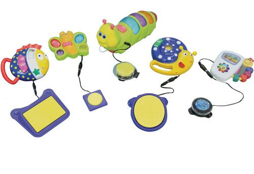 These products can be used for working on a variety of skills. Teach cause and effect and increase visual and auditory attention. Encourage reaching out and language development.  Kit includes:  • Butterfly #148  • Funny Fish #1125  • Music and Light Caterpillar #1207  • Silly Snail #1124  • Take Along Tunes #1417  • Button Click Switch #775  • Glitter Switch (Blue) #7830B  • Gumball Switch (Yellow) #782Y  • Plate Switch #810  • Small Oval Switch #711-S