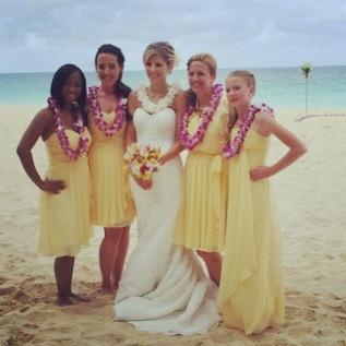 Ivory Oleg Cassini wedding dress and Yellow Bridesmaid Dresses from David's bridal #beachwedding