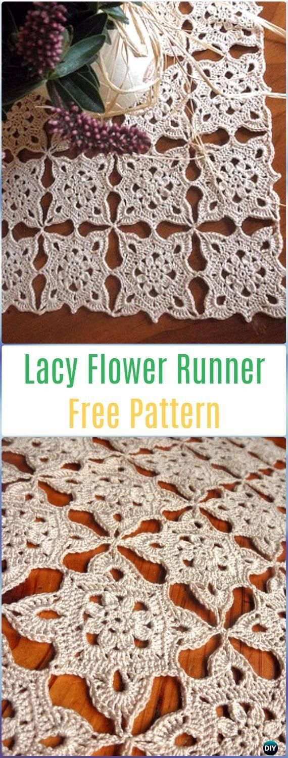 Crochet Lacy Flower Runner Free Pattern- Crochet Table Runner Free Patterns