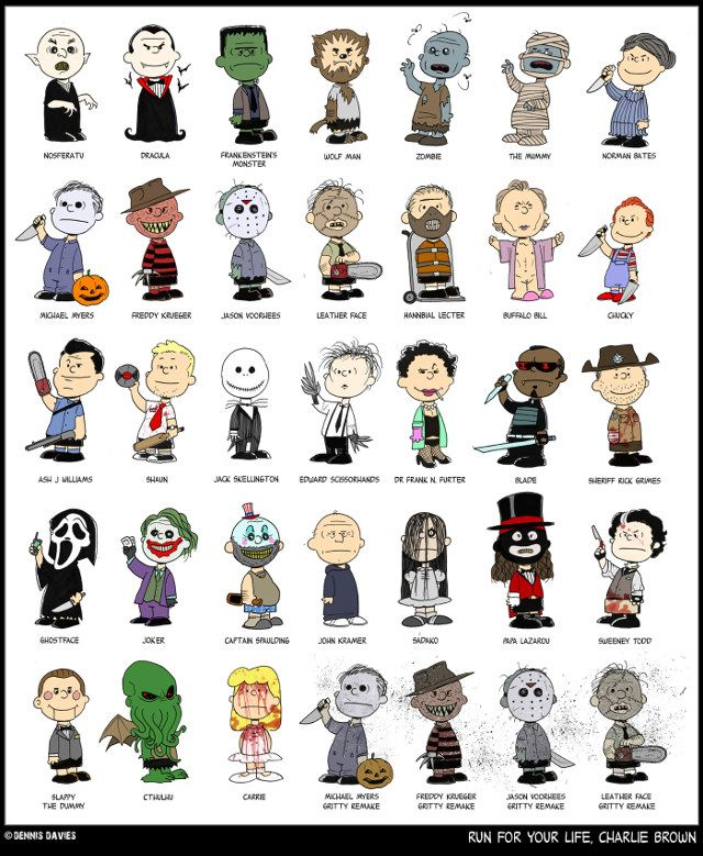 Peanuts Characters As Iconic Horror Characters