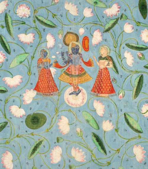 Krishna, Radha and Yamuniji Dance in the Lotus Ponds of the Yamuna Kota or Nathdwara Pigments on cotton heightened with silver and gold ca 1840, Rajasthan (via Prahlad Bubbar)