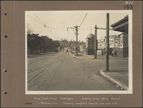 New South Head [Road] Paddington looking from Nield Avenue to Mahoney lane - Showing completed Concrete road under traffic  and entrance to the Stadium.| Flickr - Photo Sharing!