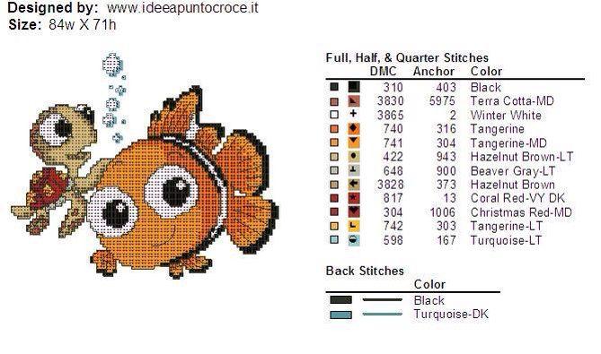 Nemo & Turtle cross stitch 3-3