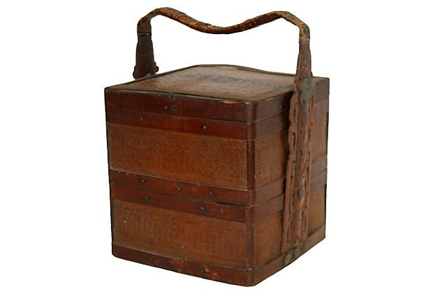 This antique double layer basket was originally used to for Old asian furniture