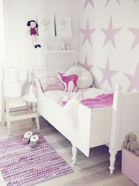 girly Big Girl Room, stars painted on wall, pale purple and white room: