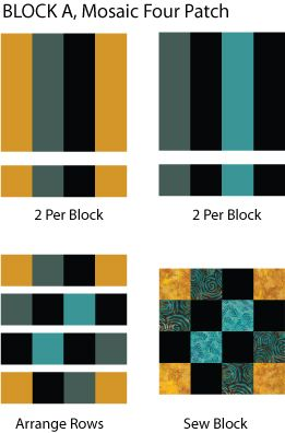 Play with colors when you make the Mosaic Four Patch, an easy quilt pattern with strip pieced blocks.: Make Mosaic Four Patch 'A' Quilt Blocks