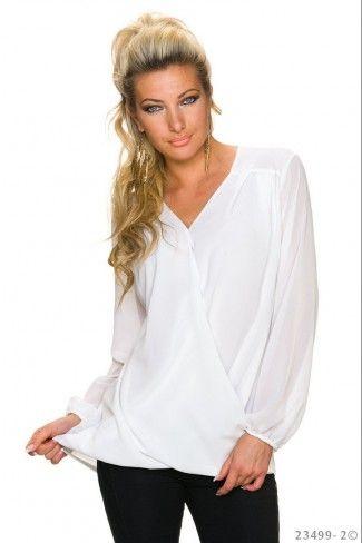 Σταυρωτή σιφόν μπλούζα με V - Άσπρο