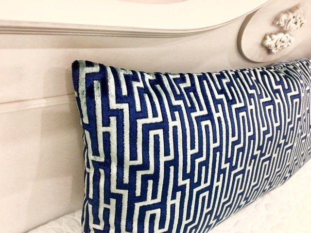 blue velvet pillow cover lumbar pillow