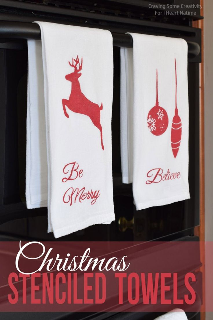 Christmas kitchen ornaments - Christmas Stenciled Kitchen Towels