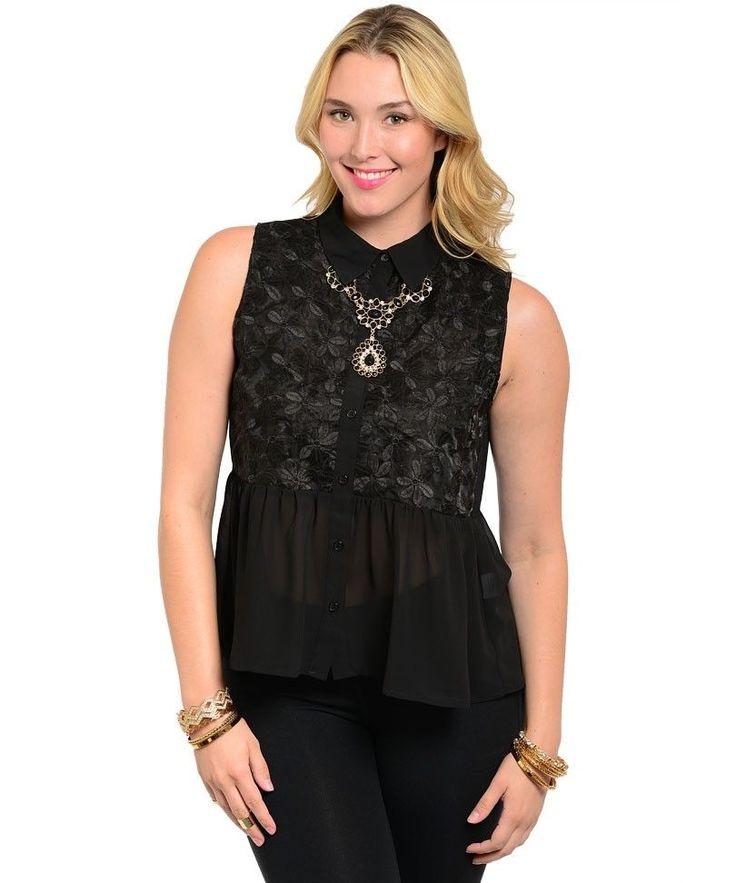 Womens Peplum Top Solid Black Lace Bodice Size 1XL 2XL Sleeveless Hi Lo Hem #Bellezza #Peplum #Career