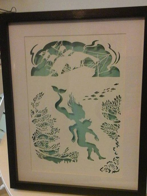 The Little Mermaid Framed Papercut by WillowPaperCuts on Etsy