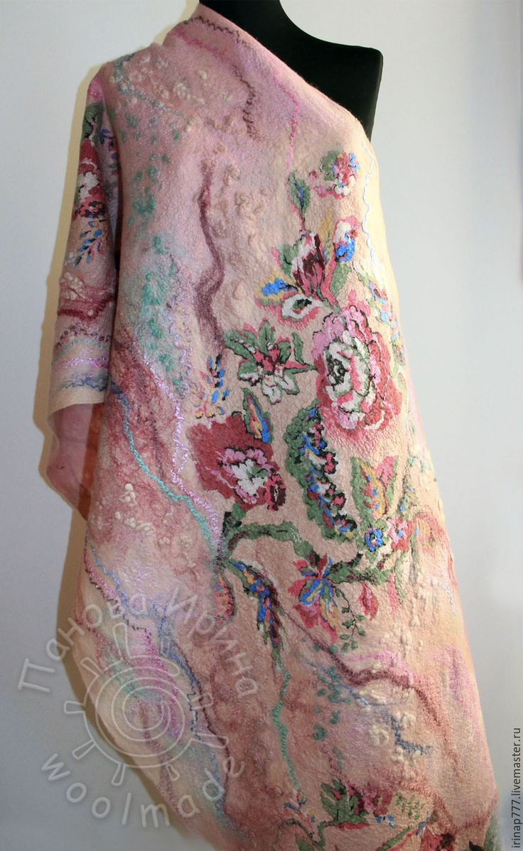 """Купить мастер-класс палантин с тюльпанами """"Шиповник"""" - бледно-розовый, цветочный, Валяние, валяние из шерсти"""