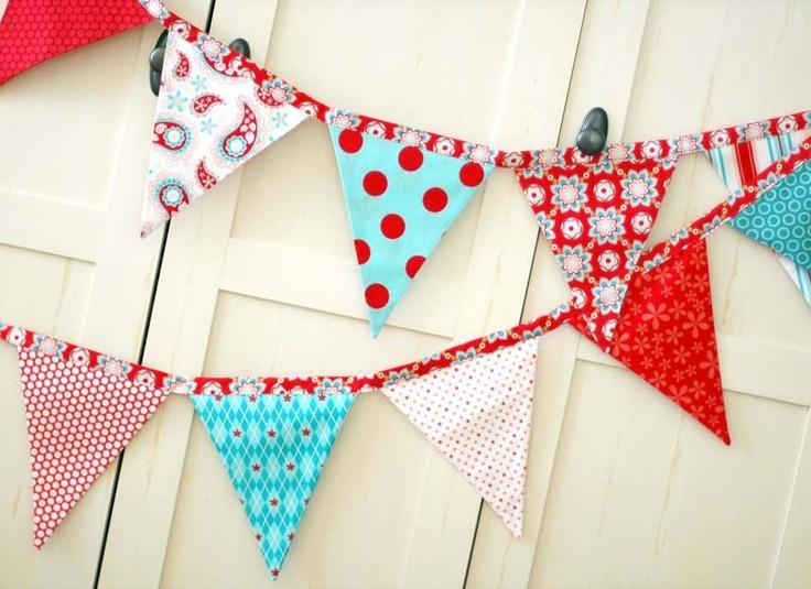 BUNTING, Fabric Flag Banner, Pennant Nursery Decor  #pinparty #snowflake #nursery