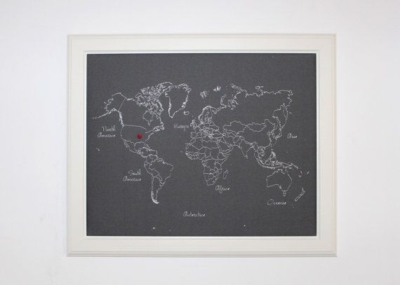 "Framed World Push Pin Map printed on Fabric - 20""x16"", ready to ship."