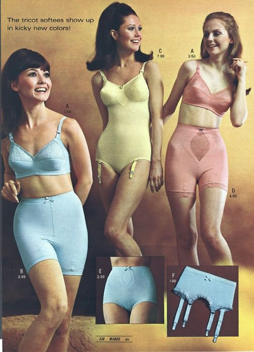 <3 Montgomery Ward, 1960s. I always wondered why a woman with protruding hip bones would wear a girdle. Great foundation wear for the vintage minded bride.