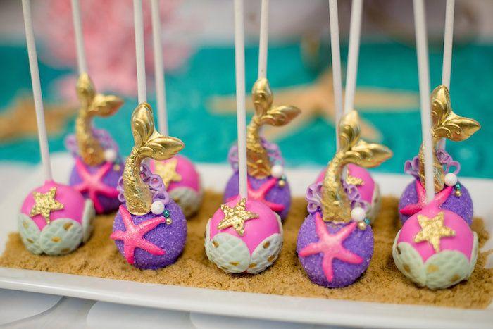 Mermaid cake pops from a Magical Mermaid Birthday Party on Kara's Party Ideas | KarasPartyIdeas.com (18)