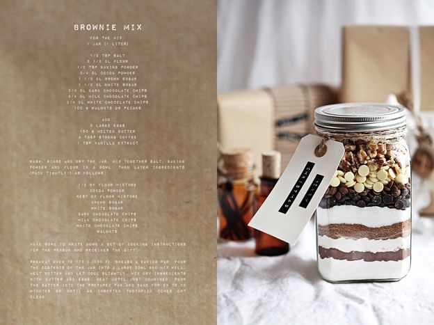 brownie mix. a pretty jar with your secret recipe = a success.