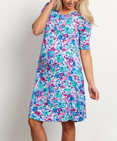 Loving this PinkBlush Blue Floral Maternity Shift Dress on #zulily! #zulilyfinds