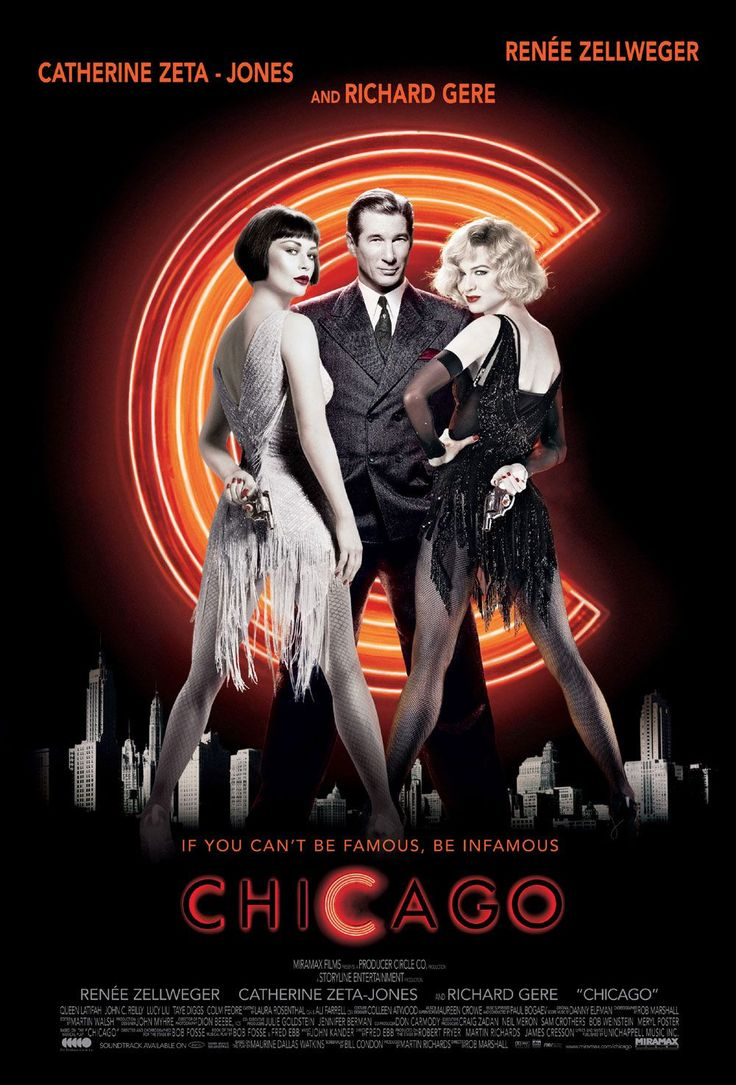 Flyer de la película CHICAGO basada en el famoso musical de Broadway.