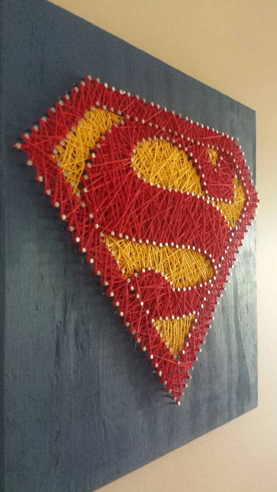 [[ String art patterns are easy enough to find, and something this simple you don't need instructions to string it! ]] Superman String Art Wall Art by henriettabloomfield on Etsy- [someone else's caption]