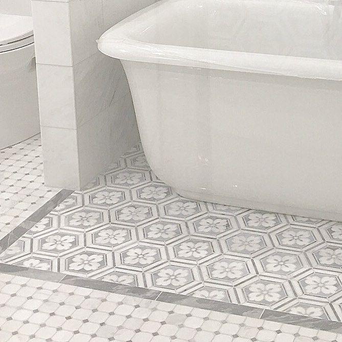 "0 Likes, 1 Comments - Tilebuys.com (@tilebuys) on Instagram: ""Flower Hexagon Bathtub Rug...  #tilebuys #tile #mosaic #mosaictile #mosaictiles #marblemosaic…"""