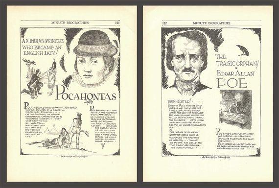 Pocahontas Print Edgar Allan Poe Classroom Decor by DigitalArtLand