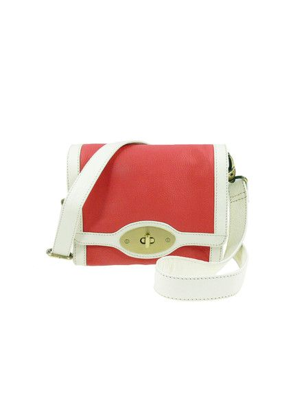 Shopper Shoulder Leather Bag - Coral / Ivory $199.95 #leethal #accessories #fashion
