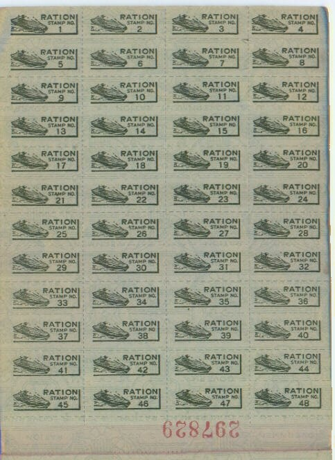 Print WW2 ration stamps for notebook.