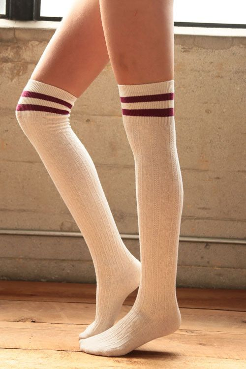 Over The Knee Cable Knit Socks with Athletic Stripe!