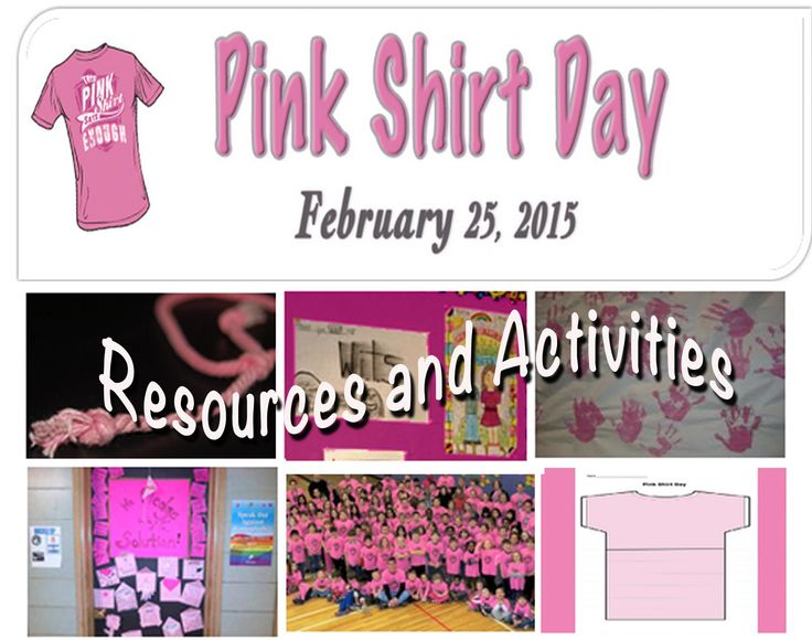 Find Pink Shirt Day activities, lessons, books and information. http://www.witsprogram.ca/pink-shirt-day-2015/index.php
