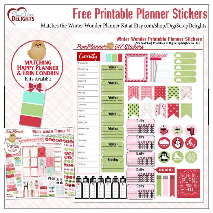 Free Printable Winter Planner Stickers #freebie #winter #merrychristmas #christmas #plannerlove #planneraddict #plannerfreebies