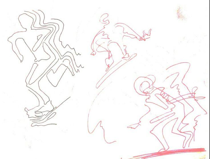 스케이트 보드를 타고 달리는 사람, 장애물을 뛰어넘는 사람등이다. 빠른 속도감이 느껴지도록 작업.