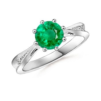 Angara Round Emerald Tapered Shank Ring in Platinum RppTkV