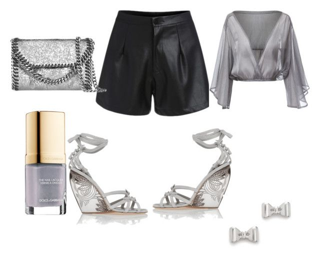 """""""Wedges"""" by gonnadressyouup on Polyvore featuring Donna Karan, STELLA McCARTNEY, Marc by Marc Jacobs, Dolce&Gabbana, Silver, Wedges, grey and leathershorts"""
