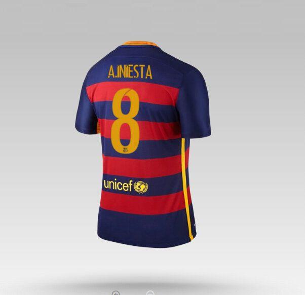 Maillot de foot Barcelone Domicile 2015/2016 (8 A.Iniesta) Bleu Rouge