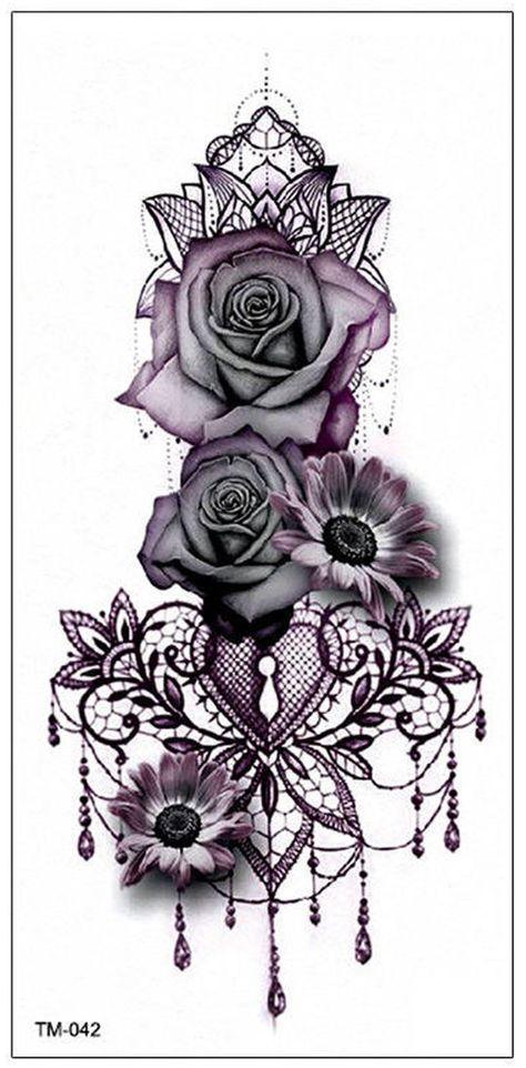 Persephone Vintage Black Geometric Chandelier Mandala Floral Sunflower Rose Temporary Tattoo