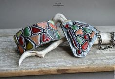 Polymer clay jewelry set / Комплекты украшений ручной работы. Ярмарка Мастеров - ручная работа. Купить Комплект в осенней гамме. Браслет и кулон. Handmade. Комбинированный
