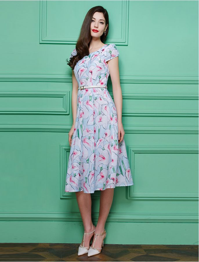 1940s Inspired My Simply Special Floral Retro Print Dress