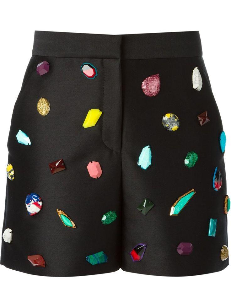 Stella Mccartney Stone Embroidery Shorts - Stefania Mode - Farfetch.com #embellished