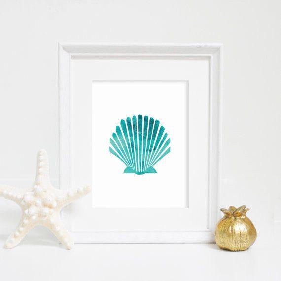Aqua Blue Watercolor Shell Art Print