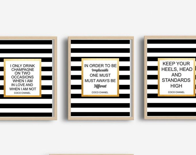Chanel Quote Print, Triptych, Set of 3 Prints, Fashion Quote, Printable Art, Chanel Wall Art,  Wall Decor, Wall Art, Instant Download