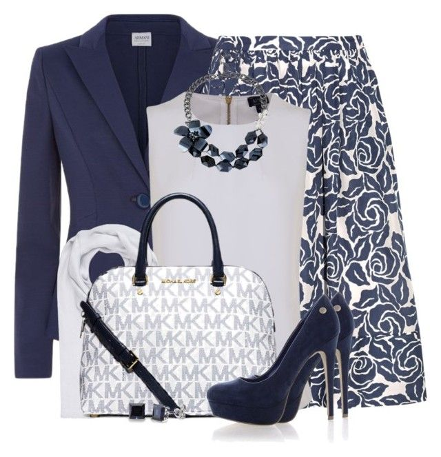"""Classic Navy Blue and White"" by brendariley-1 ❤ liked on Polyvore featuring Armani Collezioni, Elizabeth and James, Armani Jeans, bleu, FTC, Michael Kors, Blink and BERRICLE"