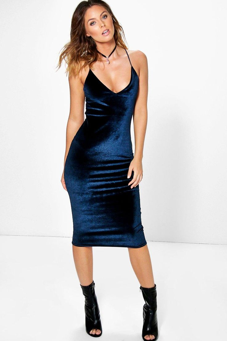 Lila Velvet Strappy Slip Dress